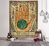 WERT Tarot Sol y Luna Patrón Manta Tarot Indio Mandala Tapiz Colgante de Pared Bohemia Gypsy Home Dormitorio Decoración Tapiz A10 180x200cm