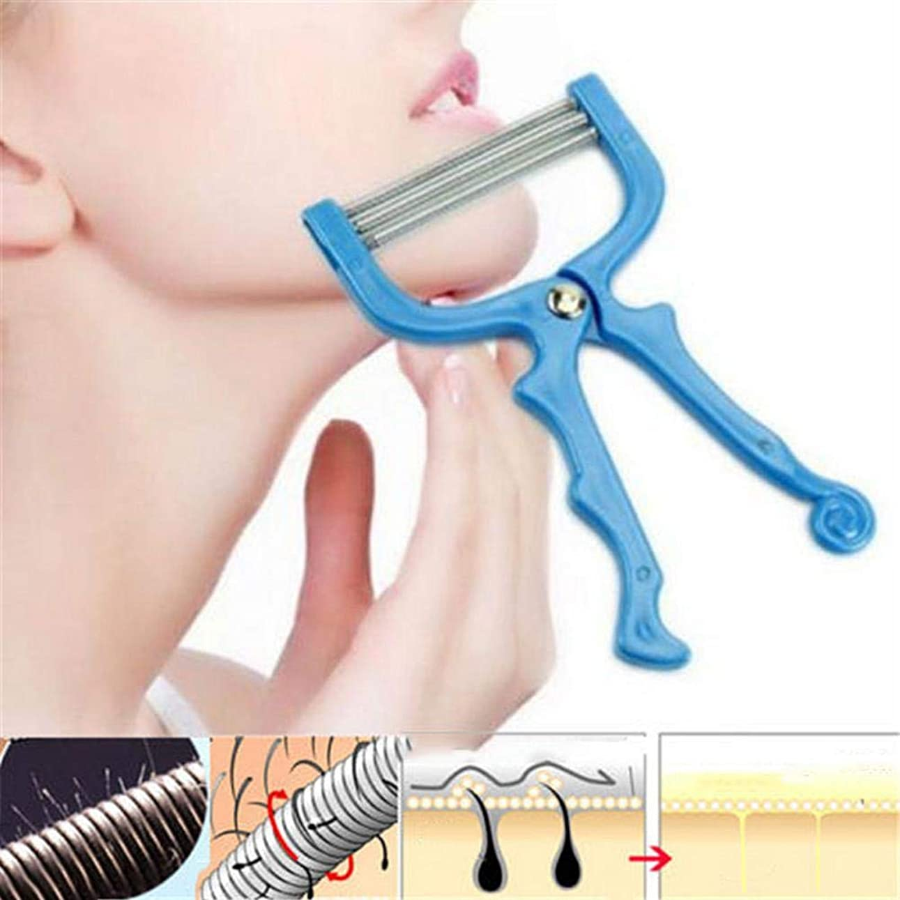 接辞熱独立SILUN 手動脱毛器 顔/腕/足/脇/ビキニエリアで使用する リムーバー フェイシャルヘアリムーバースプリングフェイシャルヘアスレーター除毛ツール美容ツール