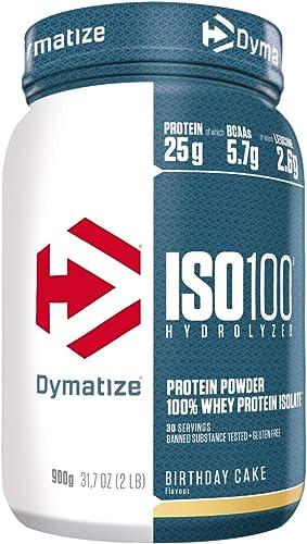 Dymatize ISO 100 Birthday Cake 900g - Hydrolysat de Protéines de Whey + Poudre d'Isolat