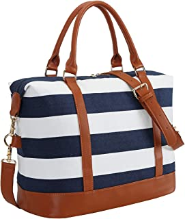 CAMTOP Women Ladies Weekender Travel Bag Canvas Overnight Carry-on Duffel Tote Luggage (Big Stripe - Blue)