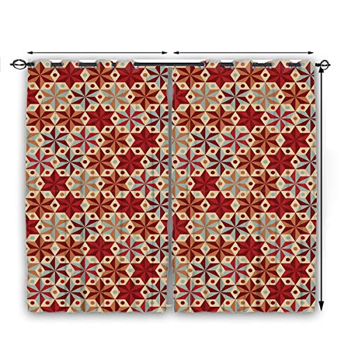 nooweihome Red and Brown Chinese Style Curtain Abstract Anise Stars Pattern in Warm Retro Colors with Dots Geometric Design Suitable forProtect Furniture W55 x L72 Multicolor