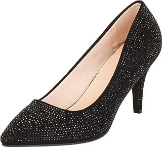 Cambridge Select Women's Slip-On Pointed Toe Crystal Rhinestone Mid Heel Pump