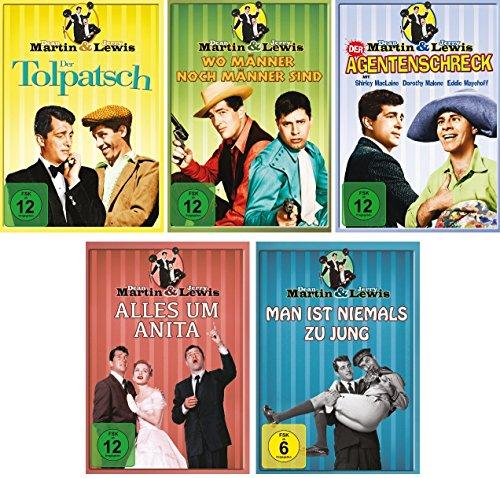5 DVDs - Jerry Lewis & Dean Martin: Der Tolpatsch, Wo Männer noch Männer sind, Der Agentenschreck, Alles um Anita, Man ist niem