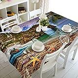 XXDD Mantel de Paisaje de Gaviota de árbol de Coco de Playa 3D Mantel Rectangular Lavable decoración de Boda Familiar A9 150x210cm
