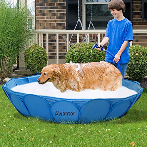 Alvantor Pet Swimming Pool Dog Bathing Tub Kiddie Pools Cat Puppy Shower Spa Foldable Portable Indoor Outdoor Pond Ball Pit 63' x12' Patent Pending