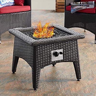 Modway Vivacity Wicker Rattan Square Propane Gas Fire Pit Table