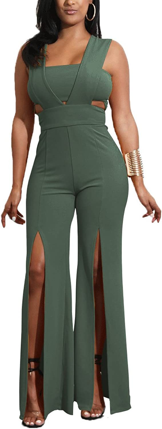 Salimdy Womens Wide Leg Jumpsuits  Sexy Elegant Sleeveless High Waist Slit Party Long Pants Jumpsuits and Rompers Army Green