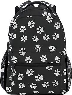 Mochila con diseño de huellas de perro de dibujos animados, impermeable, para la escuela, para el gimnasio, color negro y blanco