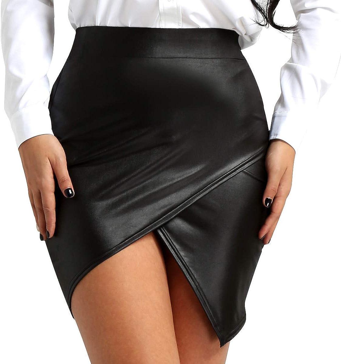 inhzoy Women's Faux Leather High Waist Night Out Clubwear Asymmetric Booty Mini Pencil Skirts
