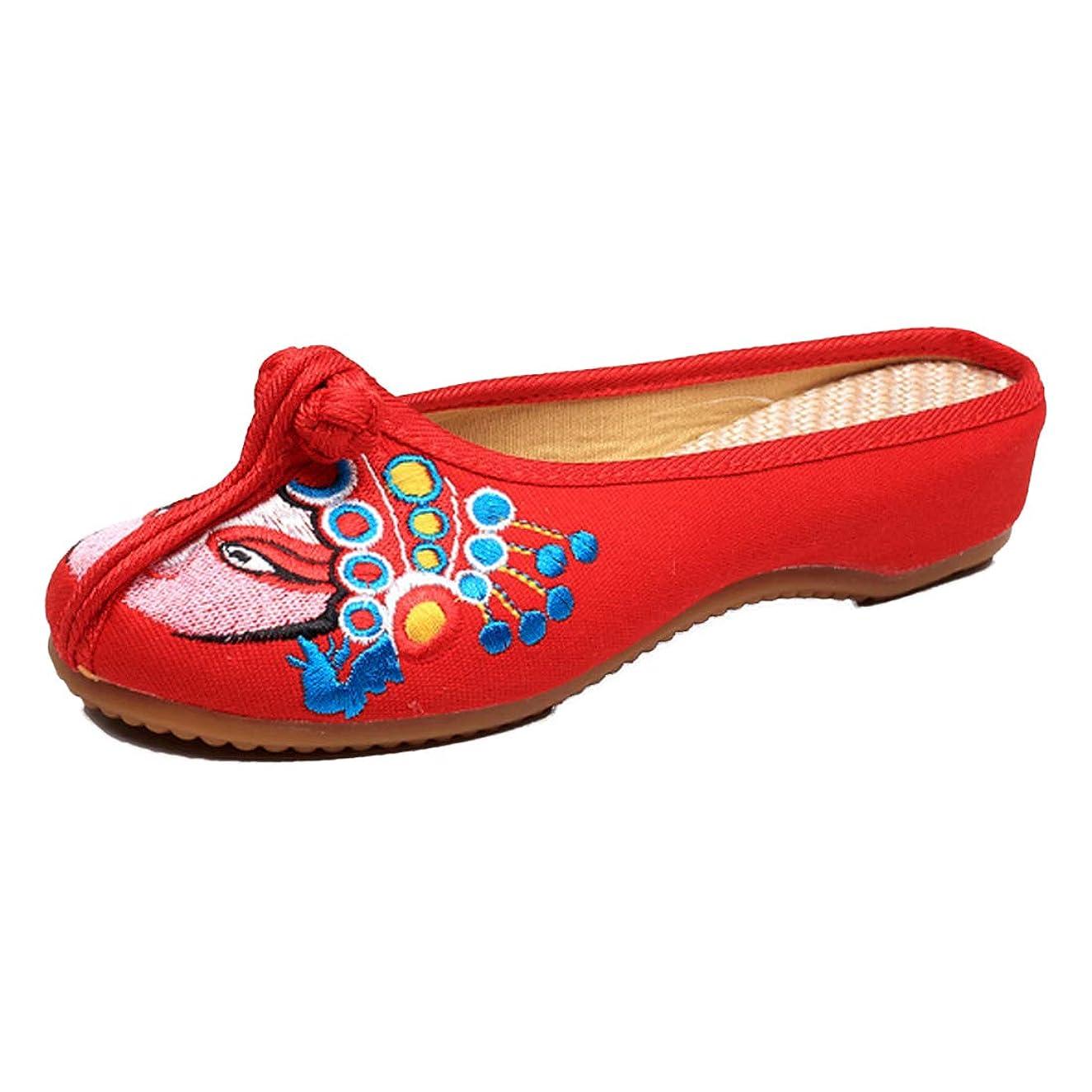 オープナー免除合意[Huicai] 中華風 女性の靴 快適?シングルシューズ ローヒールオン カジュアルシューズ