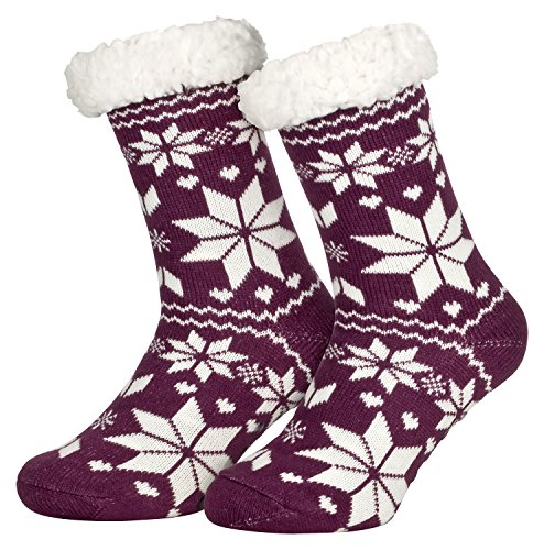 Piarini 1 Paar Kuschelsocken mit ABS Sohle - warme Damen Socken Hüttensocken - Wintersocken mit Anti Rutsch Noppen - Eiskristall- Violett (One-Size)