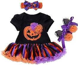 3 قطع في تصميم زهرة اليقطين بأكمام قصيرة فستان عصابة رأس مجموعة حذاء هالوين ملابس تنكر للأطفال قبل المشي مقاس 66 للجنسين