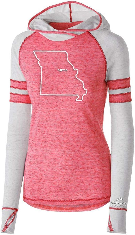 Womens Missouri Home Hoodie  MO Stadium Lightweight Baseball Burnout Sweatshirt