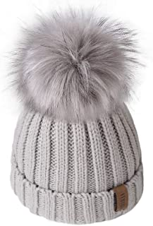 Kids Winter Knitted Pom Beanie Bobble Hat Cotton Lined...