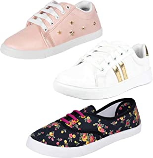 Axter Women's Multi-Coloured Canvas Casual Shoes/Sneakes/Moccasins - Pack of 3 (Combo-(3)-766-765-611)