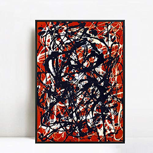 INVIN ART Framed Canvas Extra Large Giclee Print Art Free Form by Jackson Pollock Abstract Wall Art Living Room Home Office Decorations(Black Slim Frame,28'x40')