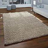 Paco Home Hochflor-Teppich, Shaggy Für Wohnzimmer, Weich Flauschig Strapazierfähig Robust, Grösse:160x220 cm, Farbe:Beige