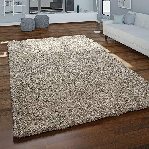 Paco Home Hochflor-Teppich, Shaggy Für Wohnzimmer, Weich Flauschig Strapazierfähig Robust, Grösse:140x200 cm, Farbe:Beige