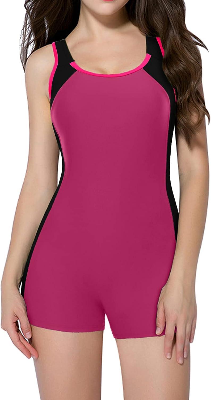 beautyin Women's One Piece Swimsuits Boyleg Sports Swimwear