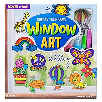 Made By Me Create Your Own Window Art by Horizon Group USA Paint Your Own Suncatchers Kit Includes 12 Pre-Printed Suncatchers DIY Acetate Sheet Window Paint Suction Cups and More Assorted Colors