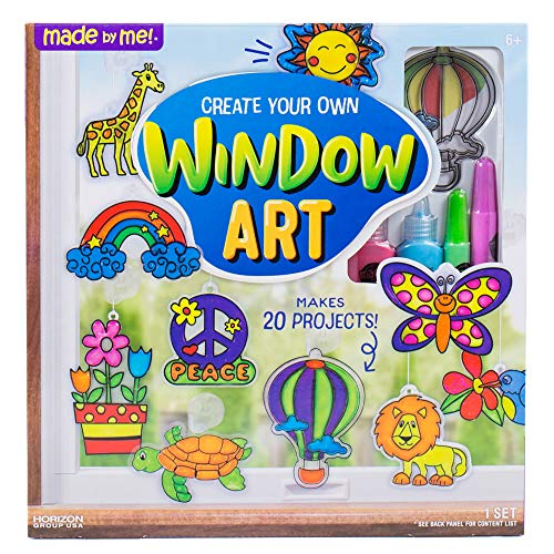 Made By Me Create Your Own Window Art by Horizon Group USA, Paint Your Own Suncatchers. Kit Includes 12 Pre-Printed Suncatchers, DIY Acetate Sheet, Window Paint, Suction Cups and More, Assorted Colors