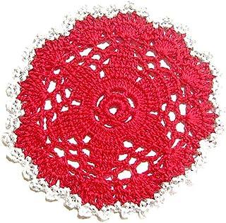 Posavasos rojo y plata de ganchillo para Navidad - Tamaño: ø 12 cm - Handmade - ITALY