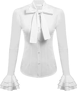 Women Slim OL Ruffle Founcing Front Shirt Long Sleeve Blouse