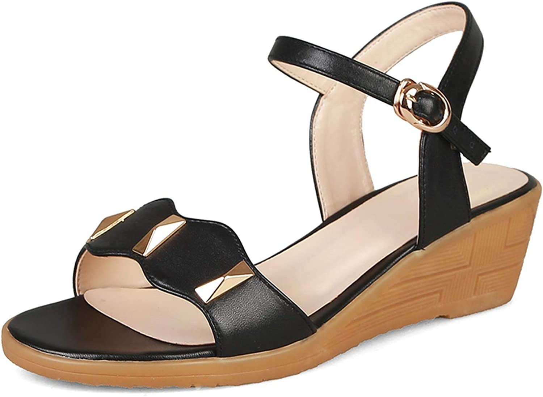 Women Comfort Platform Sandals Genuine Leather Women Black shoes