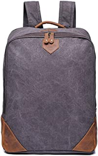 Vintage Canvas Backpack, Outdoor Travel Computer Crazy Horse Leather Backpack Wear Resistant High Capacity (Color : Gray)