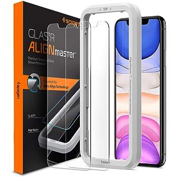 Spigen AlignMaster ガラスフィルム iPhone 11、iPhone XR 用 ガイド枠付き iPhone11 用 保護 フィルム 2枚入