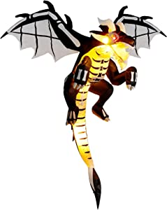 yofit Halloween Inflatable Flying Dragon, 5 Ft Hanging Skeleton Dinosaur with Wings, Build-in LED Lights Blow up Decoration for Outdoor Yard Garden Roof Tree