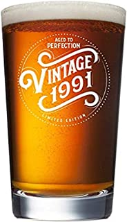 1991 28th Birthday Gifts for Men and Women Beer Glass - 16 oz Funny 28 Year Old Vintage Pint Glasses Party Supplies - Anniversary Gift Ideas for Dad, Mom, Husband, Wife - Best Pub Craft Beers Mug