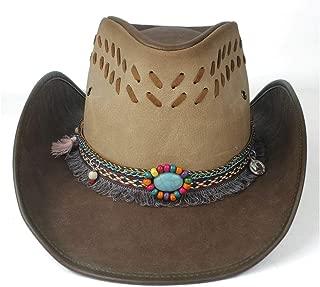 QinMei Zhou 100% Leather Women Men Black Western Cowboy Hat With Roll Up Brim Punk Belt Jazz Sombrero Cap Dad Hat Size 58-59CM