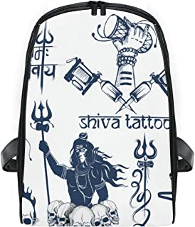 KVMV Illustration Tattoo Art Design Lord Shiva,Lightweight School backpack Students College Bag Travel Hiking Camping Bags
