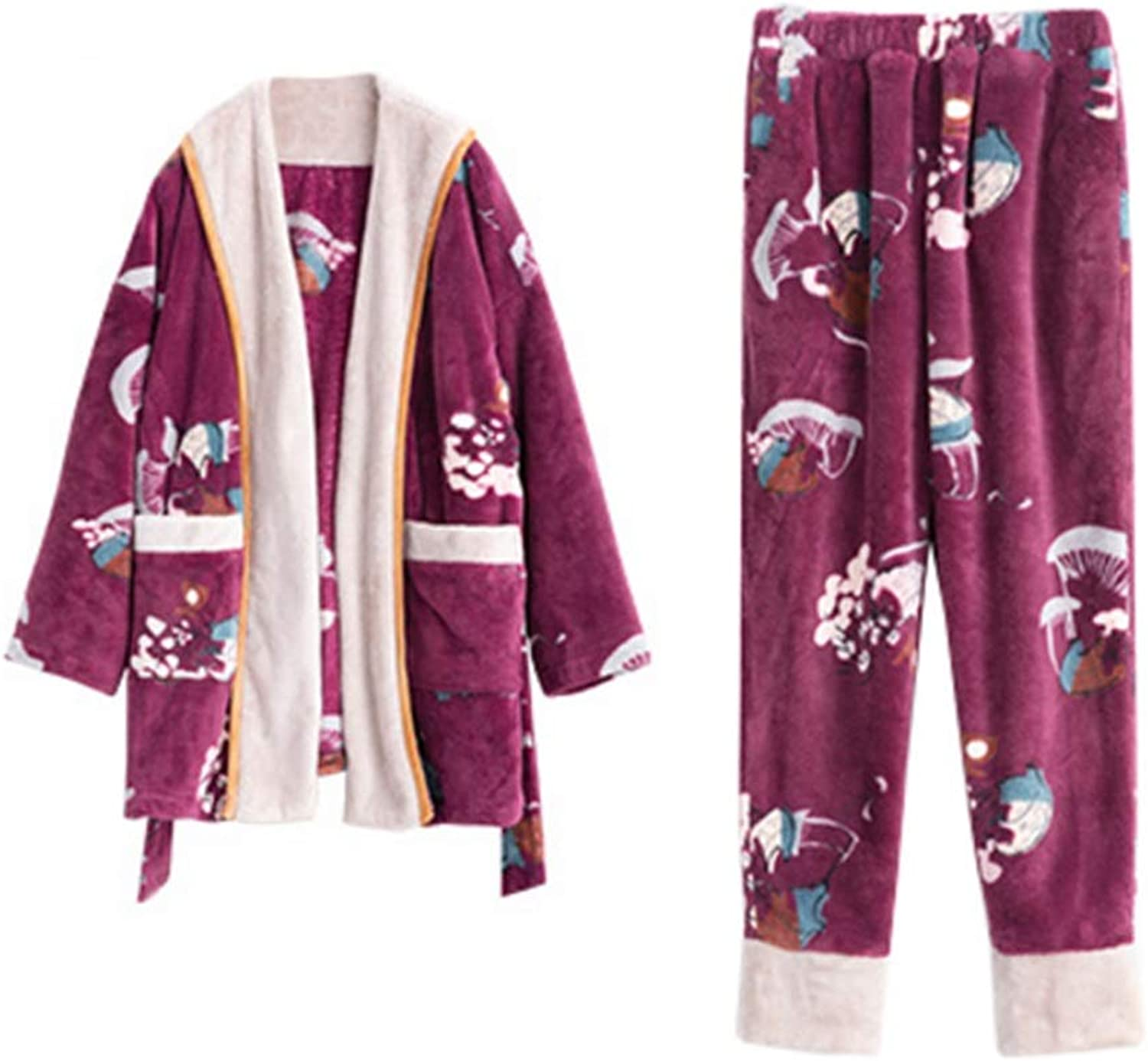 NAN Liang Winter Ladies Cotton bathrobe Pajamas + Warm Pants, Long Cardigan Long Nightgown, Thickening Home Service Soft (Size   L)