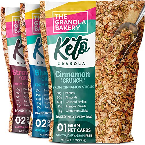 The Granola Bakery Keto Granola | Low Carb Keto Cereal | 1g Net Carb | Low Sugar, Keto Nut Granola | Small Batch, Hand Crafted | Variety Pack, 11 Ounces (Pack of 3)