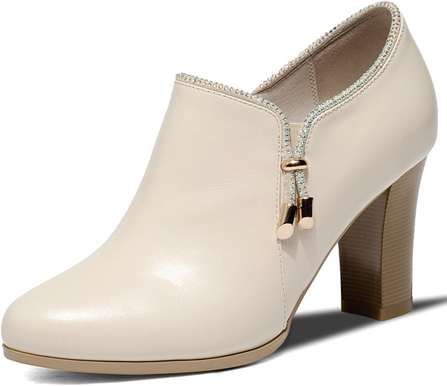 Fall thick with dark shoes TOU Shui diamond high heels comfortable nude shoes