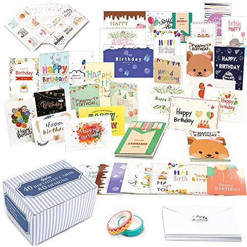 Birthday Cards, 40 Pack 40 Designs Feela Happy Birthday Card Assorted Bulk with 40 Blank Envelopes 48 Pieces of Stickers 2 Washi Tapes, 4 X 6 Inches Greeting Cards For Girls Family Friends