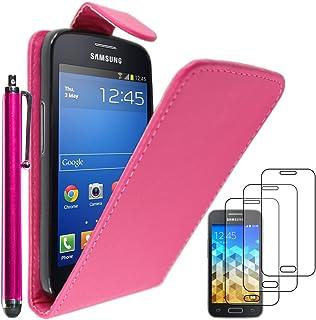 ebestStar - Funda Compatible con Samsung Galaxy Trend 2 Lite SM-G318H, Galaxy V Plus Carcasa Abatible PU Cuero, Ultra Slim Case Cover + Lápiz +3 Peliculas, Rosa [Aparato: 121.4x62.9x10.7mm, 4.0'']