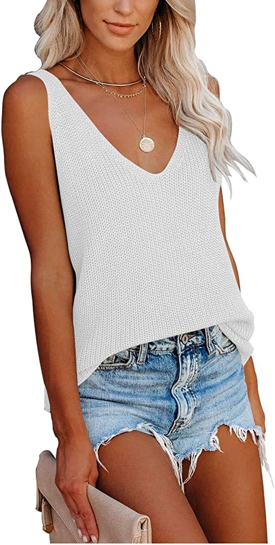 YizCore Tank Tops for Women Summer V Neck Sleeveless Knit Cami Cute Shirts Casual Loose Blouses