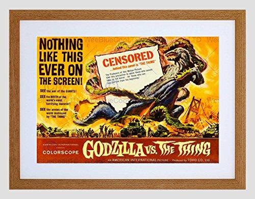 FILM GODZILLA VERSUS THING MONSTER HORROR RAMPAGE SCI FI ART PRINT B12X11309