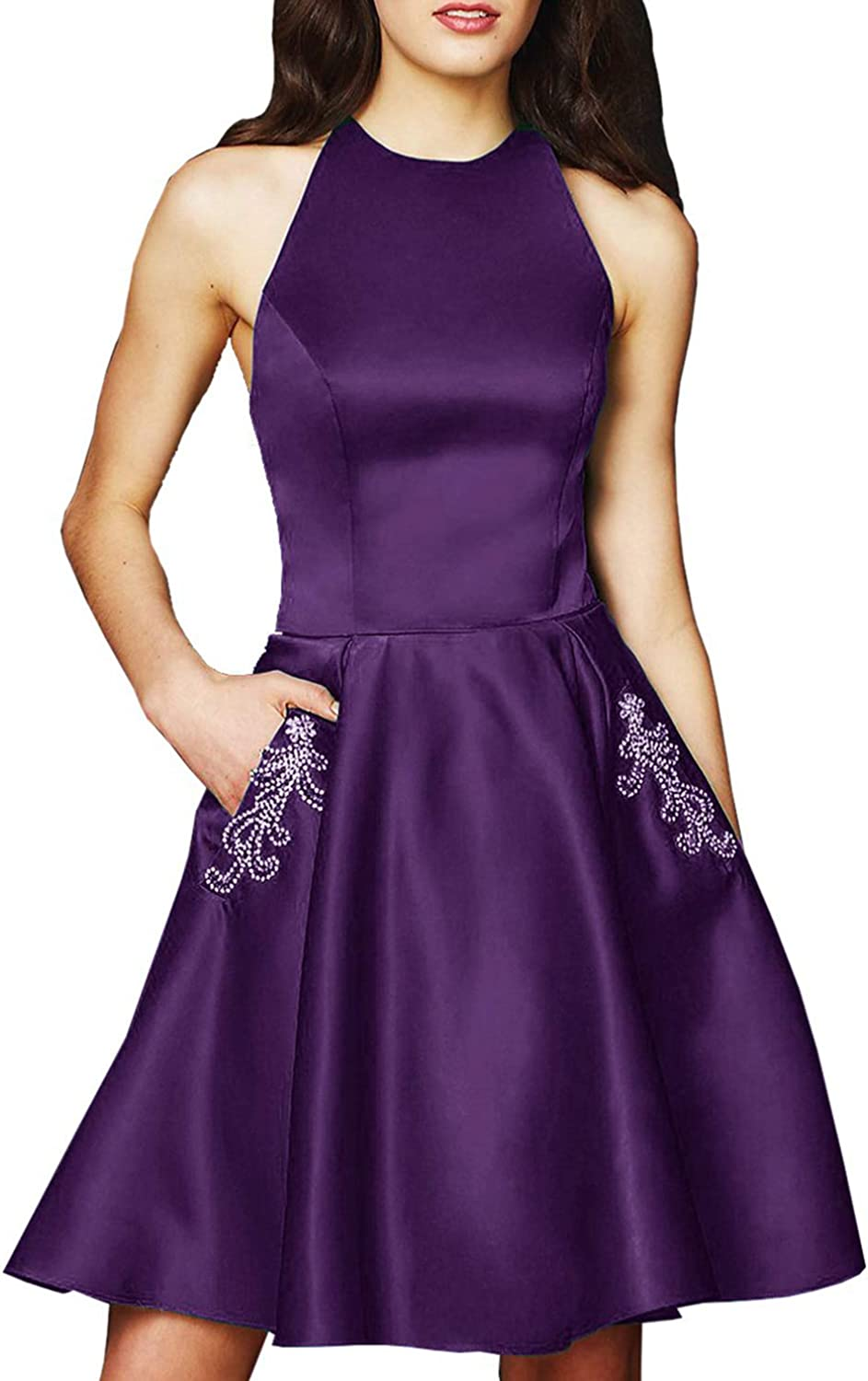 Scarisee Womens Halter Beaded Homecoming Dress Pocket Short Prom Party GownSA34