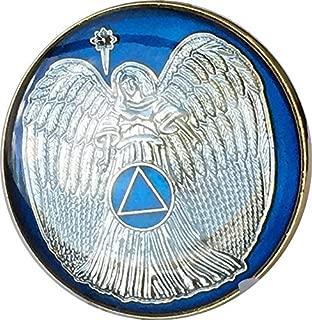 Guardian Angel Midnight Blue Gold Plated AA Medallion Pocket Token
