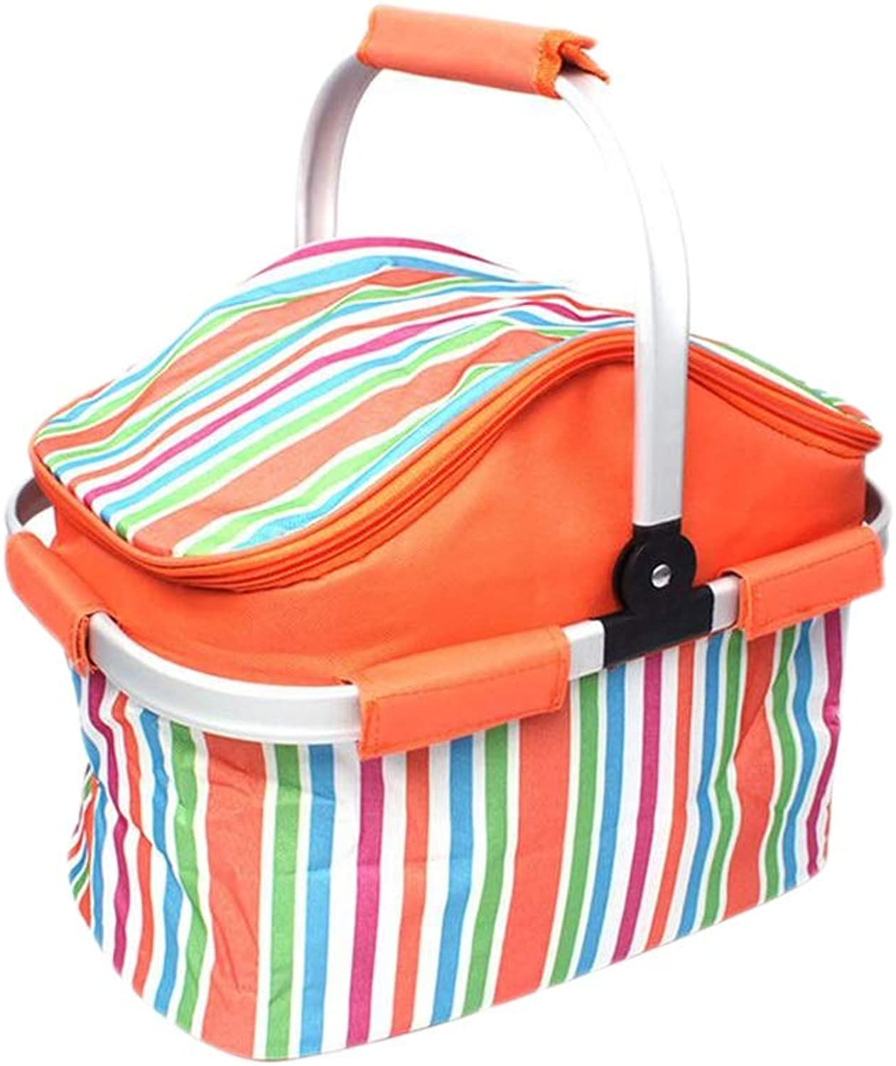 Folding Picnic Baskets Insulated Portable Cooler Lunch Bags Tote Aluminum Carry Handles Outdoor Camping Hiking Travel Picnic Bags 20L (color   orange, Size   15.75  9.84  12.6inchs)