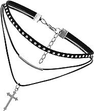 Flongo Womens Gothic Vintage Flannelette Rope Cross Rivet Choker Punk Collar Neckband