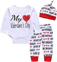 My First Valentine's Day Newborn Baby Boys Girls Romper Pants Hat Outfits Clothes Set