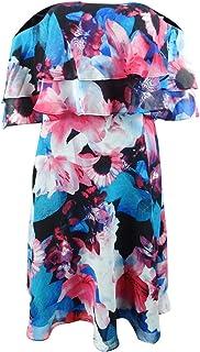 Calvin Klein Women's Tiered Off The Shoulder Flower Print Dress CD8B32NG