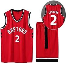 CURVEASSIST Conjunto De Camisetas De Baloncesto Toronto Raptors # 2 Leonard Hombres Retroceso RespirableBaloncesto Verano Corto Secado Rápido Ropa Deportiva Rojo,Red-S
