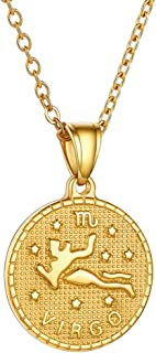 GoldChic Jewelry 12 Constelaciones Colgante Dorado en Collar Ajustable, Acero Inoxidable con baño de 18K Oro, Servicio Grabar Personalizar, Gratis Caja de Regalo