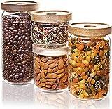 Numyton Vorratsgläser Set mit Deckel 4-er aus Borosilikatglas, Vorratsdosen Glas Stapelbar und Luftdicht für Lebensmittel 1000ml, 750ml, 500ml, 350ml